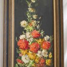 Flowers Lush Mums Daisy Original Vintage Painting C E Brandes  Vertical Framed