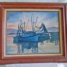 Vintage Marine Plein Air Painting Fishing Trawler Boat California West Coast