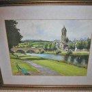 Scottish Painting Watercolor Culberston Peebles Parish Church River Tweed 1950