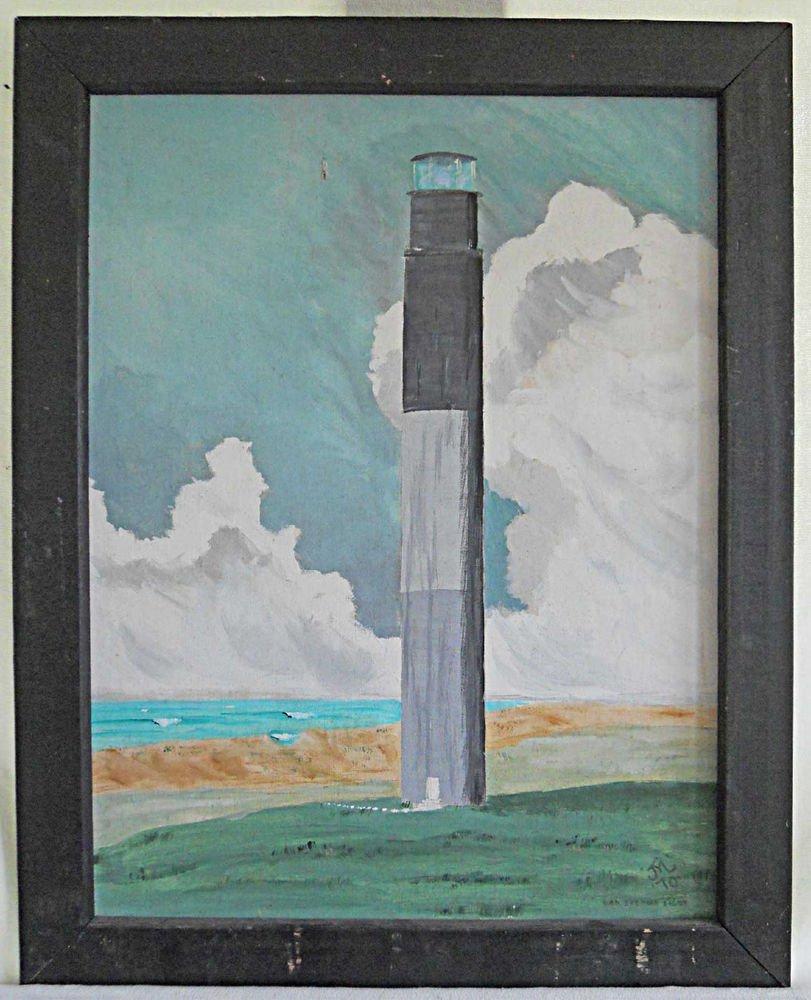 Vintage Painting Oak Island Light Lighthouse Folk Art Naive JM Lewis 70 NC Dixie
