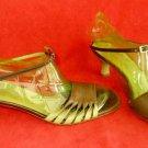 Vintage Salvatore Ferragamo Sandals Ankle Wrap Kitten Color Block Peep Toe 9.5B
