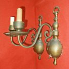 Pair of Brass Wall Sconce Vintage Hollywood Regency Old Patina Bulbous Scrolls