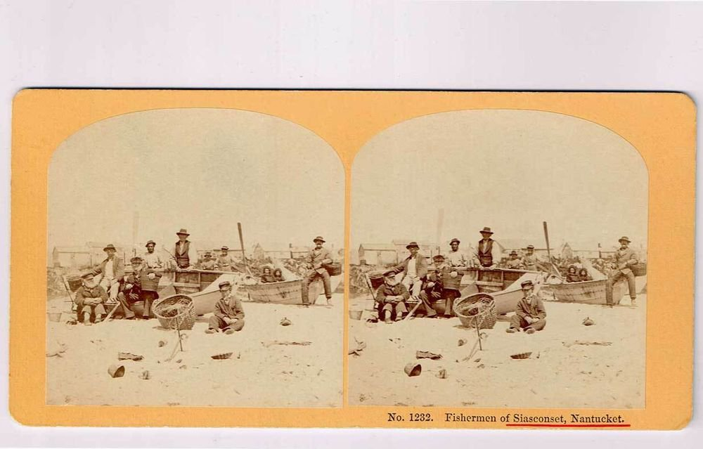 Stereoview occupational Fishermen Siasconcet Nantucket Boat Basket Kilburn 1232