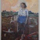 Antique Painting Original Oil Fresco Itay Bare Foot Woman Peasant Farm Landscape