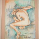 Vintage Painting Watercolor Nude Erotic Young Female Back Christian Bagichi