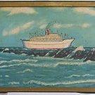 Marine Vintage Folk Art Painting Florida Miami Carnival Ship Mardi Gras  Wreck