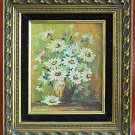 Antique Vintage Painting Oil Impasto Still Life Daisy Flowers Carved Frame Danny