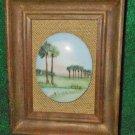 Miniature Painting on Porcelain Vintage Antique Framed Formal Landscape Italy