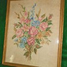 Antique Embroidery Flowers Bouquet Roses Large Scale Framed Pinks Blues Muted