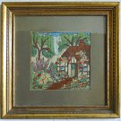 Vintage Fine Needlework Country Forest Cottage Gilded Beaded Wood Fancy Frame