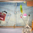 Levis Big E Jeans Mixed Media Collage Painting Vintage Textile Hippie Rear End