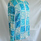 Vintage Beaded Sequin Silk Trophy Jacket Turquoise NOS Tunic Geometric M Rina Z