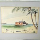 Key West Florida Vintage Painting Stilt Shack on Water Kokomo Flynn Beach  Palm