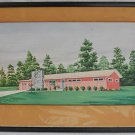 Modernist Vintage Painting  W Ambrose Watercolor Architect Rendering Ranch House