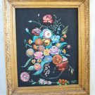 Painting on Velvet Massive Bouquet Flowers IRWIN Vintage Hollywood Regency