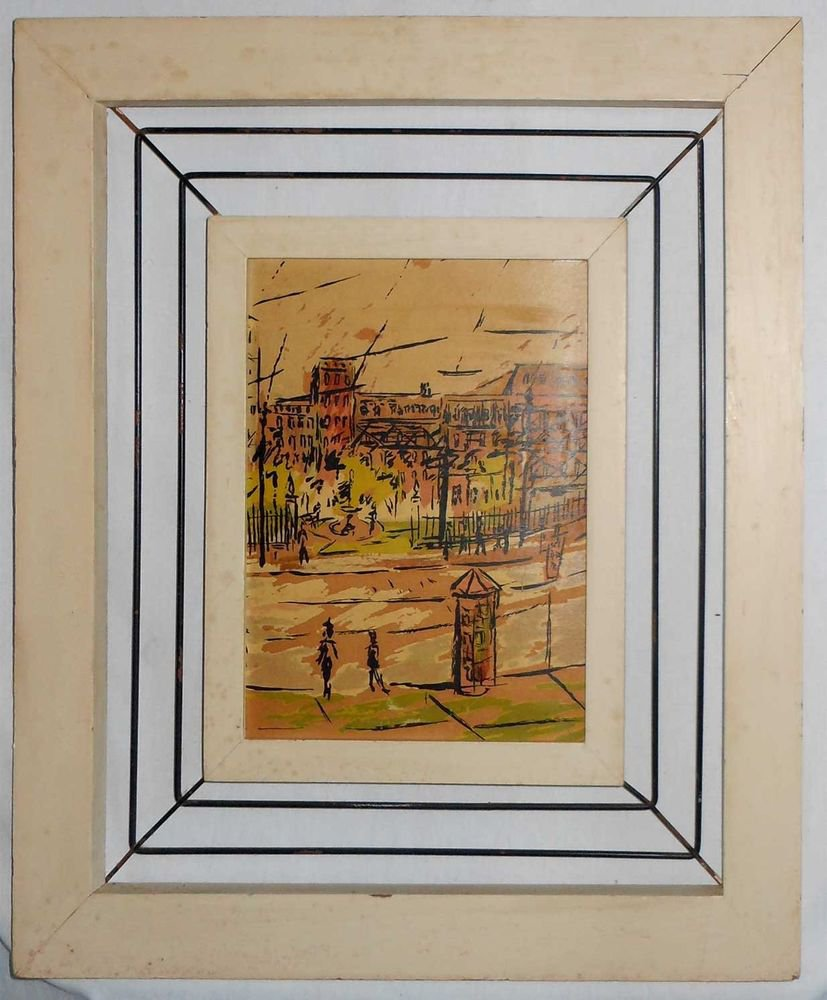 Frame Vintage Mid Century Modern Suspended Metal Rod Double Painting Picture