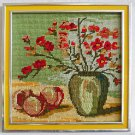 Needlepoint Vintage Still Life Fruit Flowers Modernist Framed Small Jewel Like