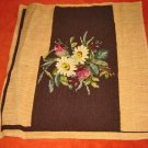 Needlepoint Petit Point Daisy Chair Cover Antique Chocolate Brown Background