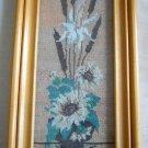Needlepoint Cattail Blue Flower Reed Vintage Mid Century Modern Framed Vertical