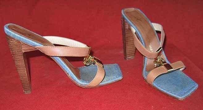 Giuseppe Zanotti Sandals Shoes Denim Vicini Wood Stack Heel Gold Chain 37.5