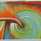 AL WOOD Oil Painting Universe Black Hole Creation Allegorical Sci Fi 1990