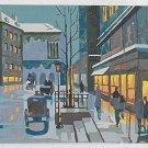 Painting Paris Vintage Paint by Number Night Cafe Winter Horse-Drawn Carriage