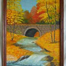 Vintage Original Painting Huowe Cascading Brook Bridge Orange Fall Foliage