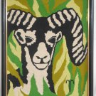 Needlepoint Bighorn Sheep Ram  Western Vintage Modernist Graphic Close Portait
