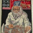 Vintage Jewish Rabbi Portrait Needlepoint Torah Writing Scroll Talmud Judaiac