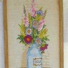 Vintage Needlework Milk Can Flowers Spring Pastel Mid Century Modern Framed