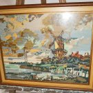 Vintage Antique Dutch Needlepoint Ruysdael Landscape Tower Mill Netherlands 1670
