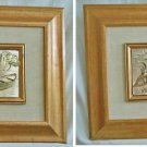 Vintage Pair Italian Framed Bas Relief Metal Framed Sculpture Marine Boats Wall