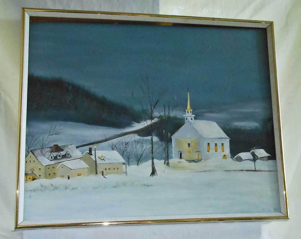 Vintage Oil Painting Church Gray Dawn Landscape Snow Mountain Colorado Nelle Ray