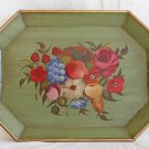 Antique Vintage Tole Toleware Hand Painted Green Tray Flowers Fruits Gold Edge