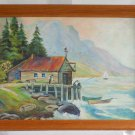 Naive Vintage Modernist Oil Painting Pacific Northwest Coastal Fishing LF Young