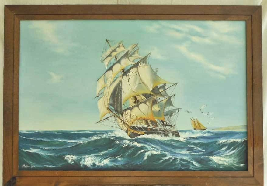 Marine Vintage Original Oil Painting De Backer Sailing Ship Boat Square Rigger