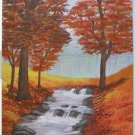 Colorado Vintage Painting  Orange Fall Foliage Waterfall Landscape Naive Ryan