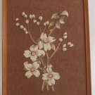 Vintage Antique Needlework Crewel Flowers Southern Framed Dogwood Botanical