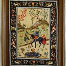 Vintage Needlepoint Russian Peasant Horse Rider Scene Cossack Birds Deer Framed