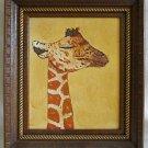 Vintage Original Painting Baby Giraffe Sleeping Carved Gilded Fancy Wood Frame