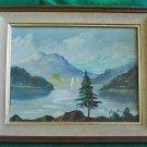 Vintage Colorado Plein Air Original Oil on Canvas Painting Tirey Mountain Lake
