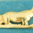 Rhino Rhinoceros Gold Over Sterling 925 Vermeil Silver Brooch Pin Mama Baby Rino