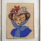 Vintage Needlepoint Gibson Girl Romantic Pretty Hat Huge Double Hung Frame Blues