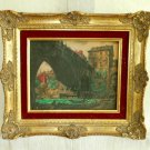Vintage Italy Medieval Town Stone Bridge River Boats Painting Decor Gilt Frame