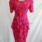 Balenciaga Dress Pink Peplum Polka Dot Fit Flare Sash Couture Deadstock NOS 38