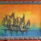 Vintage Original Painting Marine Sailing Ship Seascape Sunset Carved Frame Bell