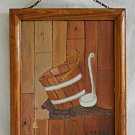 Vintage Painting Rustic Cabin Wall Jennie Naifeh Old Oaken Bucket Naive Folky 76