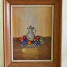 Vintage Mid Century Decor Still Life Oil Painting Pewter Tankard Grapes L kloth