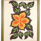 Needlepoint Vintage Modernist  Hibiscus Scene Tropical Flower Hawaii Tiki Framed