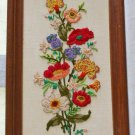 Vintage 1975 Crewel Embroidery Panel Tall Flowers Modernist Framed Anemone Wise